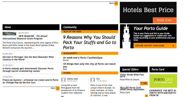 Featured as the blog of the week during summer 2014 on Porto tourism portal (http://www.visitporto.travel/Visitar/Paginas/default.aspx)